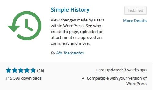 simple history list of wordpress plugins thedavebraun