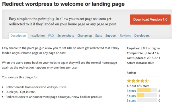 welcome gate redirect to welcome or landing page plugin thedavebraun